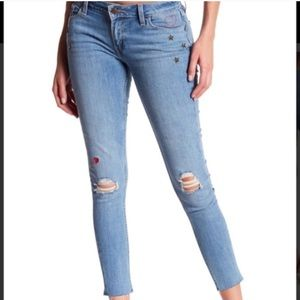 Levi's 535 Ripped Embellished Super Skinny Jeans
